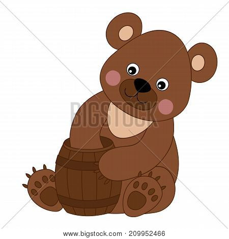 Vector cute cartoon bear with barrel of honey. Vector baby bear. Bear vector illustration