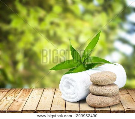 Towel stones group objects background heap clothing