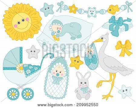 Vector baby boy set. Set includes cute baby boy stroller, stork. bunny, sun, diapers in turquoise and yellow colour. Vector baby boy shower. Baby boy vector illustration