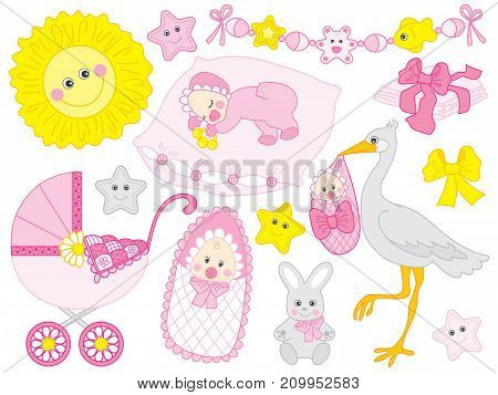 Vector baby girl set. Set includes cute baby girl, stroller, stork. bunny, sun, diapers in pink and yellow colour. Vector baby girl shower. Baby girl vector illustration