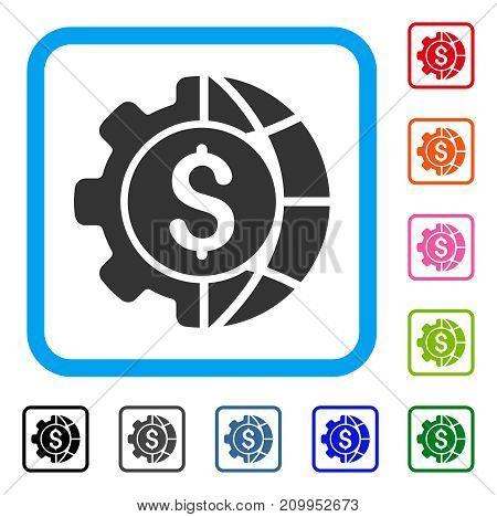 World Industry Finances icon. Flat grey iconic symbol in a light blue rounded square. Black, gray, green, blue, red, orange color versions of World Industry Finances vector.