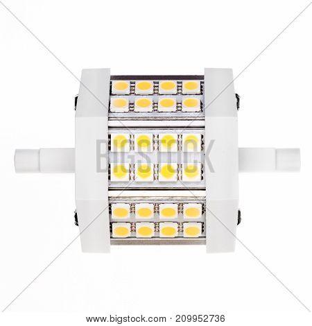 Led lamp isolateg on white. Macro photo.