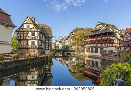 Morning view of Petite France - a historic quarter of the city of Strasbourg in eastern France