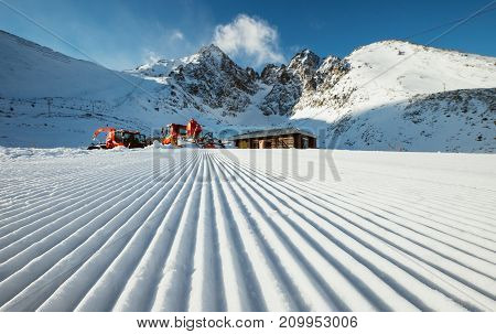 Ski track after snow grooming in slovakian Tatry mountains