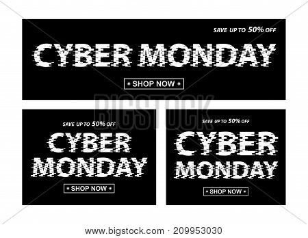Cyber monday black banners. Vector different proportion banners with Cyber Monday text
