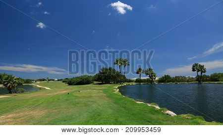 Golf field one of hotels on Aruba