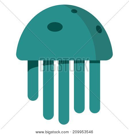 Cute jellyfish red cartoon character sea animal vector illustration. Invertebrate animal sea fauna medusa vector illustration. Nature animal aquatic medusa, aquarium tropical marine.