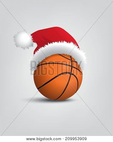 Basketball ball with santa hat. Vector Christmas and New Year basketball object