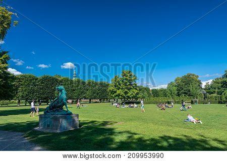 Copenhagen Denmark - september 3 2017: Rosenborg Castle Gardens is the oldest and most visited park in Copenhagen.