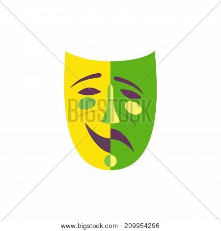 Carnival mask icon concept. Venice Masquerade symbol. Freehand flat cartoon. Mardi Gras parade celebration colorful emblem. Theater logo template. Holiday vector decorative element banner background