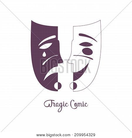 Carnival mask concept. Venice Masquerade symbol. Stylized freehand monochrome icon. Theatrical performance show emblem. Theater logo template. Actor vector decorative element banner background