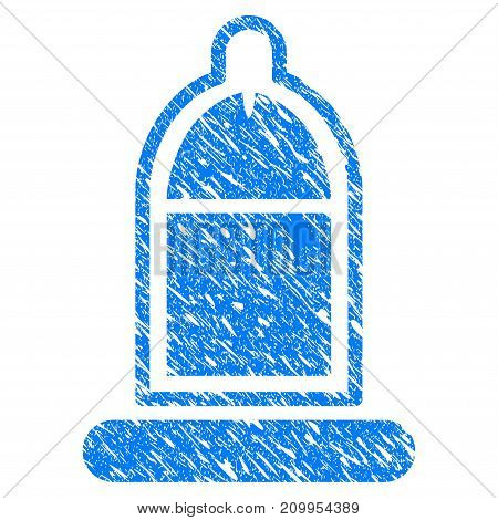 Grunge Condom USAge icon with grunge design and dirty texture. Unclean vector blue Condom USAge pictogram for rubber seal stamp imitations and watermarks. Draft emblem symbol.
