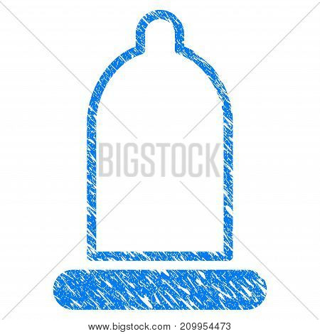 Grunge Condom icon with grunge design and scratched texture. Unclean vector blue Condom pictogram for rubber seal stamp imitations and watermarks. Draft sign symbol.