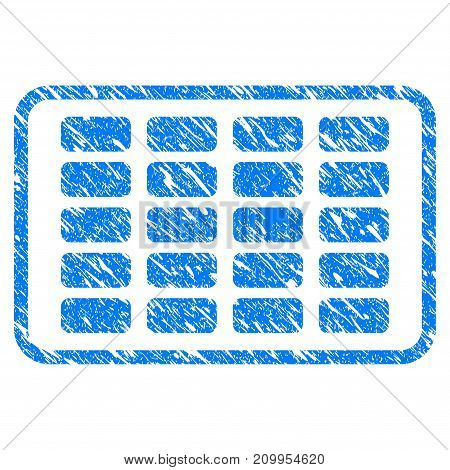 Grunge Contraceptives Blister icon with grunge design and dust texture. Unclean vector blue Contraceptives Blister pictogram for rubber seal stamp imitations and watermarks. Draft sign symbol.