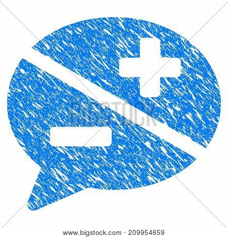 Grunge Dispute icon with grunge design and unclean texture. Unclean vector blue Dispute pictogram for rubber seal stamp imitations and watermarks. Draft sign symbol.