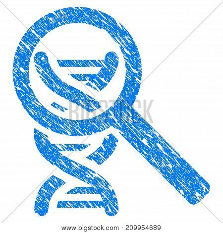 Grunge DNA Analysis icon with grunge design and dirty texture. Unclean vector blue DNA Analysis pictogram for rubber seal stamp imitations and watermarks. Draft sticker symbol.