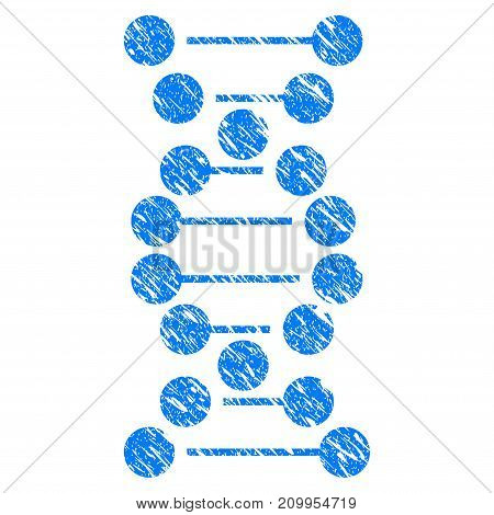 Grunge DNA icon with grunge design and dust texture. Unclean vector blue DNA pictogram for rubber seal stamp imitations and watermarks. Draft emblem symbol.