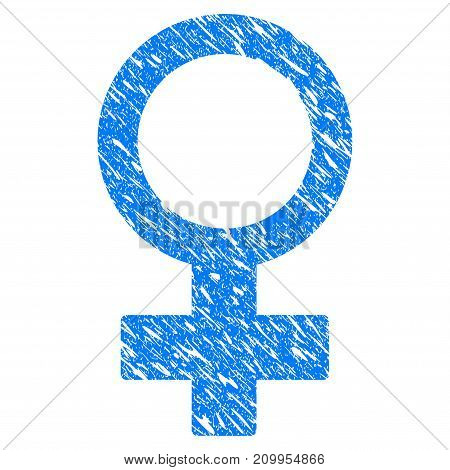 Grunge Female Symbol icon with grunge design and scratched texture. Unclean vector blue Female Symbol pictogram for rubber seal stamp imitations and watermarks. Draft emblem symbol.