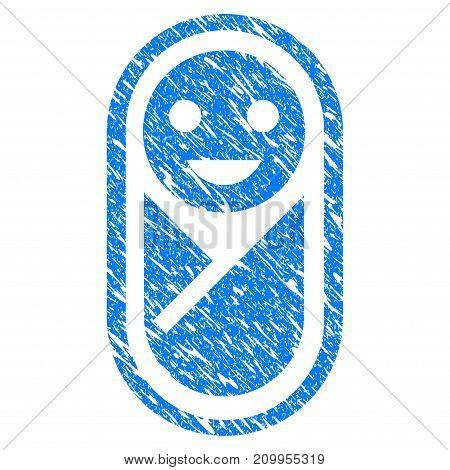 Grunge Newborn icon with grunge design and dust texture. Unclean vector blue Newborn pictogram for rubber seal stamp imitations and watermarks. Draft emblem symbol.