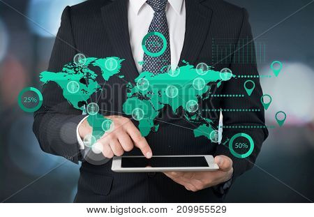 Business man digital businessman using tablet man face
