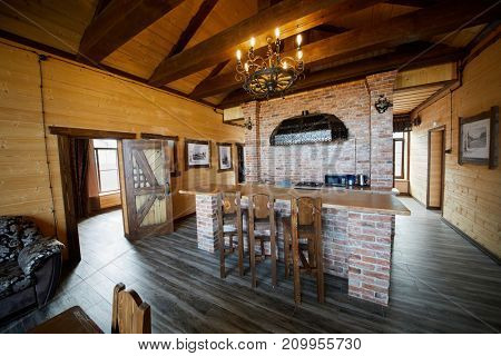 PERESLAVL ZALESSKY, RUSSIA - AUG 28, 2017: Interior of kitchen room in guest house of tourist complex Botik at Plescheevo lake shore, near Museum Botik of Peter the Great.