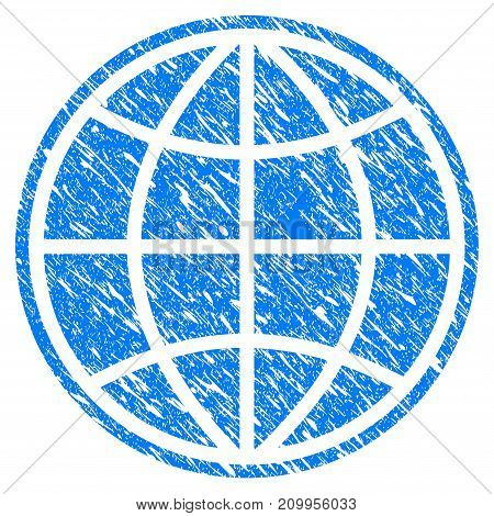 Grunge World icon with grunge design and unclean texture. Unclean vector blue World pictogram for rubber seal stamp imitations and watermarks. Draft emblem symbol.