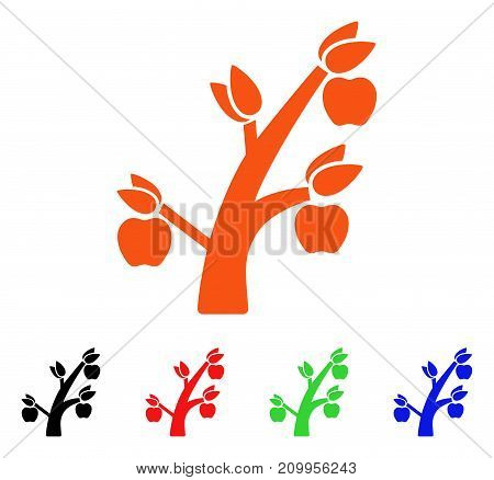 Apple Tree icon. Vector illustration style is a flat iconic apple tree symbol with black, orange, red, green, blue color variants. Designed for web apps and software interfaces.