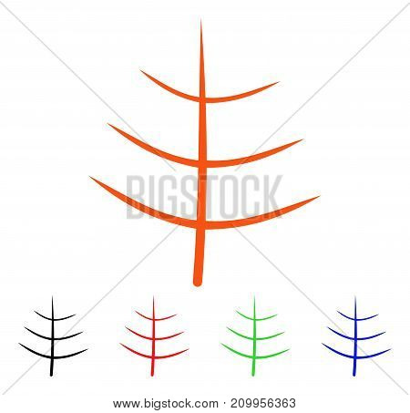 Bare Tree icon. Vector illustration style is a flat iconic bare tree symbol with black, orange, red, green, blue color variants. Designed for web apps and software interfaces.