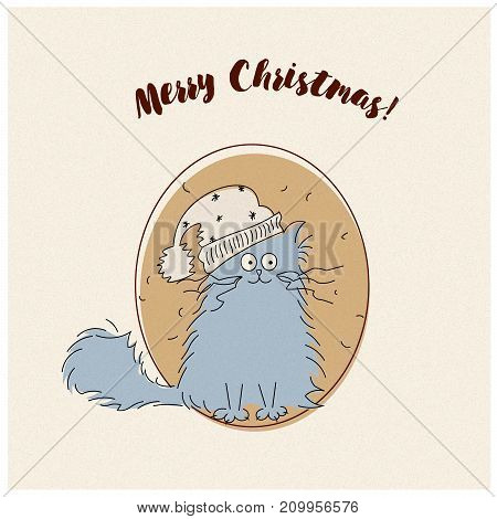 Vintage Merry Christmas vector illustration of a cute cat card