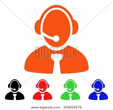 Call Center Manager icon. Vector illustration style is a flat iconic call center manager symbol with black, orange, red, green, blue color versions. Designed for web apps and software interfaces.