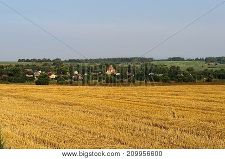 Rural landscape with yellow mown wheat field and a small village