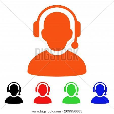 Call Center icon. Vector illustration style is a flat iconic call center symbol with black, orange, red, green, blue color versions. Designed for web apps and software interfaces.