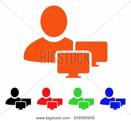 Computer Administrator icon. Vector illustration style is a flat iconic computer administrator symbol with black, orange, red, green, blue color variants.