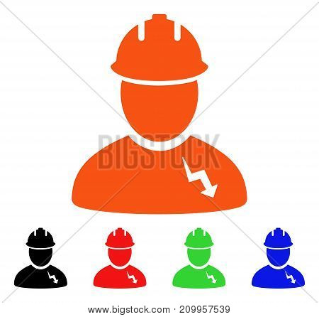 Electrician icon. Vector illustration style is a flat iconic electrician symbol with black, orange, red, green, blue color variants. Designed for web apps and software interfaces.
