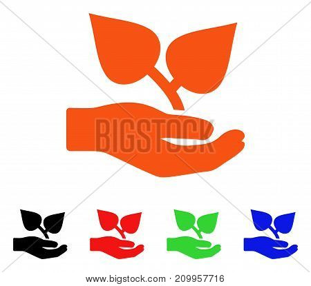 Flora Care Hand icon. Vector illustration style is a flat iconic flora care hand symbol with black, orange, red, green, blue color variants. Designed for web apps and software interfaces.