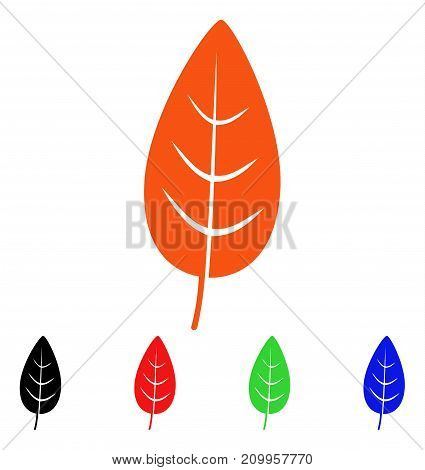 Flora Leaf icon. Vector illustration style is a flat iconic flora leaf symbol with black, orange, red, green, blue color variants. Designed for web apps and software interfaces.