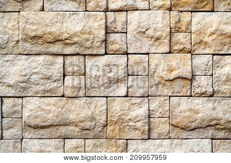 Decorative Bege Stone Random Size Brick Wall Texture For Your Design.