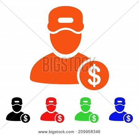 Guy Salary icon. Vector illustration style is a flat iconic guy salary symbol with black, orange, red, green, blue color versions. Designed for web apps and software interfaces.