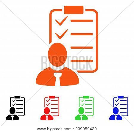 Manager Check List icon. Vector illustration style is a flat iconic manager check list symbol with black, orange, red, green, blue color versions. Designed for web apps and software interfaces.