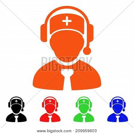 Medical Call Center icon. Vector illustration style is a flat iconic medical call center symbol with black, orange, red, green, blue color variants. Designed for web apps and software interfaces.