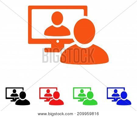 Online Video Chat icon. Vector illustration style is a flat iconic online video chat symbol with black, orange, red, green, blue color versions. Designed for web apps and software interfaces.