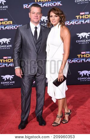 LOS ANGELES - OCT 10:  Matt Damon and Luciana Barroso arrives for the