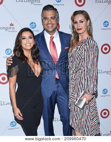 LOS ANGELES - OCT 12:  Eva Longoria, Jaime Camil and Heidi Balvanera arrives for the Eva Longoria Foundation Dinner on October 12, 2017 in Beverly Hills, CA