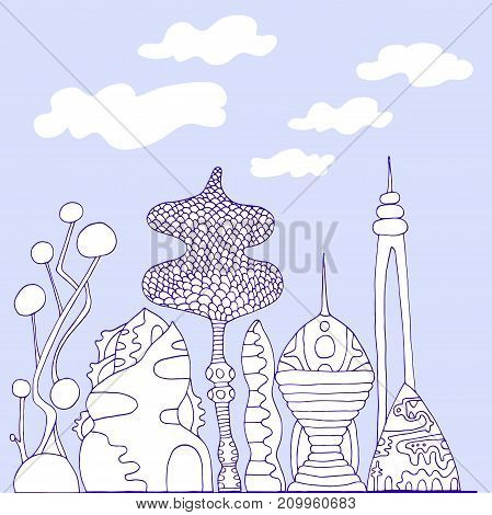 Monochrome colorful fantastic city cartoon sketch style hand drawing futuristic city isolated against a sky and clouds vector illustration coloring page for children and adults.