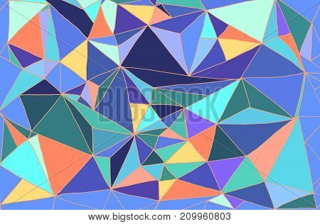 Bright abstract hand drawing background many multicolored triangles pastel color psychedelic style vector stylish card illustration.