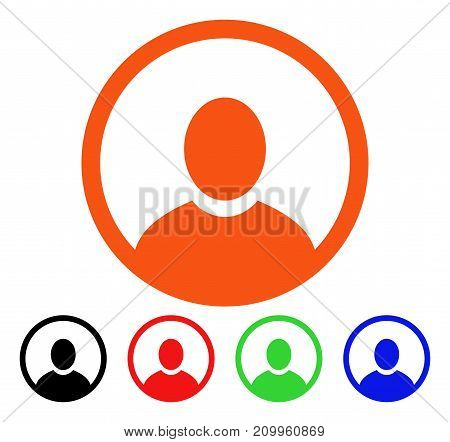 Rounded User Portrait icon. Vector illustration style is a flat iconic rounded user portrait symbol with black, orange, red, green, blue color versions. Designed for web apps and software interfaces.