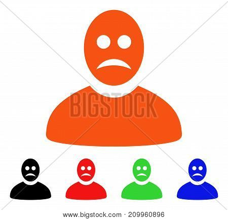 Sad Person icon. Vector illustration style is a flat iconic sad person symbol with black, orange, red, green, blue color variants. Designed for web apps and software interfaces.