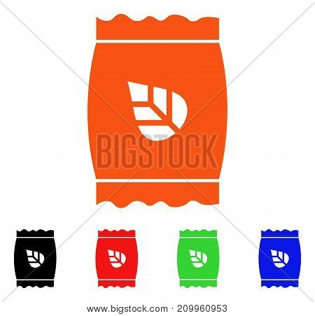 Seed Pack icon. Vector illustration style is a flat iconic seed pack symbol with black, orange, red, green, blue color versions. Designed for web apps and software interfaces.