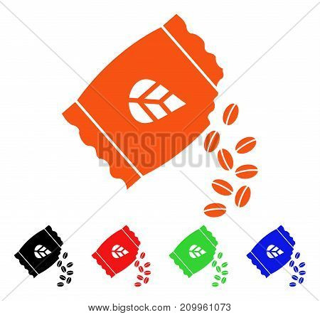 Sow Seed Pack icon. Vector illustration style is a flat iconic sow seed pack symbol with black, orange, red, green, blue color versions. Designed for web apps and software interfaces.