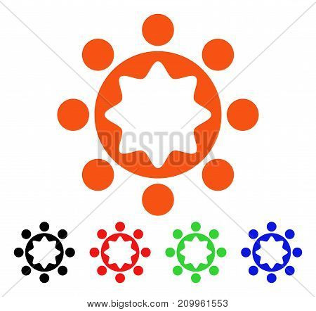 Union Corporation icon. Vector illustration style is a flat iconic union corporation symbol with black, orange, red, green, blue color versions. Designed for web apps and software interfaces.